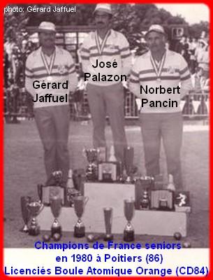 champions de France triplettes seniors pétanque 1980