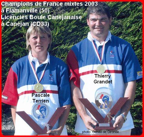 champions de France pétanque mixtes doublettes en 2003