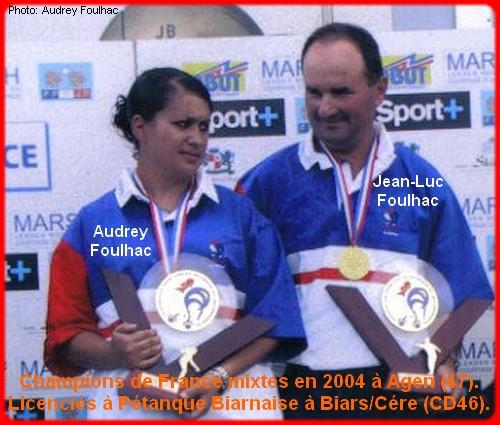 champions de France pétanque mixtes doublettes en 2004