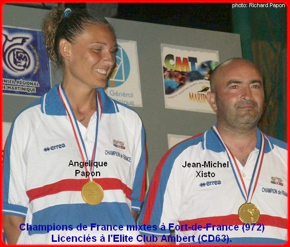 3Champions de France pétanque mixtes doublettes en 2005