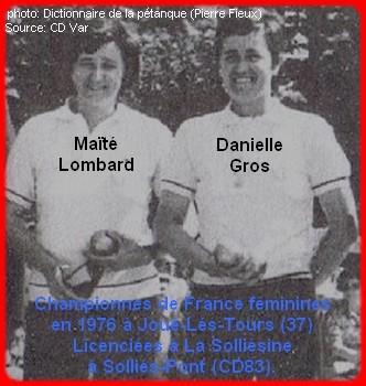 Les championnes de France pétanque doublettes féminines en 1976
