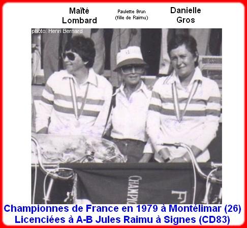 Championnes de France pétanque doublettes féminines en 1979