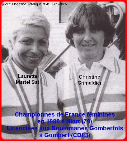 Championnes de France pétanque doublettes féminines en 1980