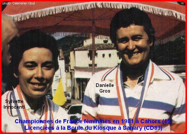 Championnes de France pétanque doublettes féminines en 1981