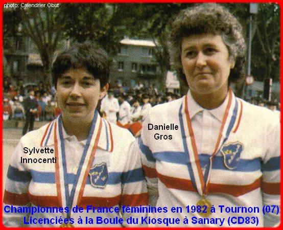 Championnes de France pétanque doublettes féminines en 1982