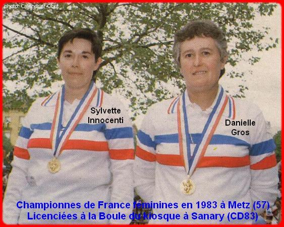 Championnes de France pétanque doublettes féminines en 1983