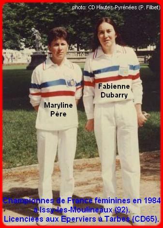 Championnes de France pétanque doublettes féminines en 1984