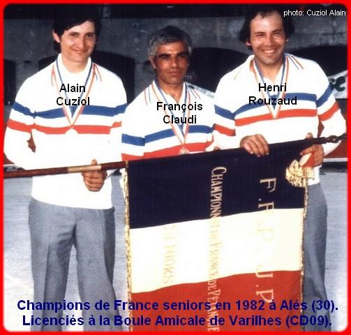 champions de France triplettes seniors pétanque 1982