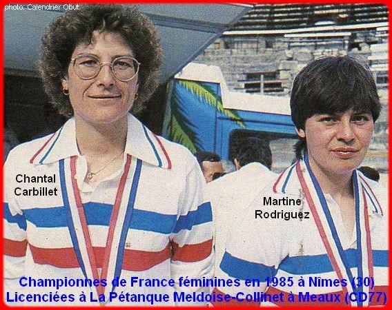 Championnes de France pétanque doublettes féminines en 1985