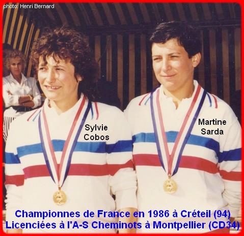 Championnes de France pétanque doublettes féminines en 1986