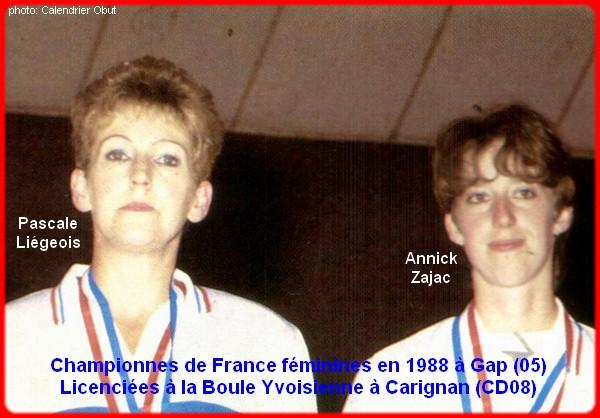 Championnes de France pétanque doublettes féminines en 1988