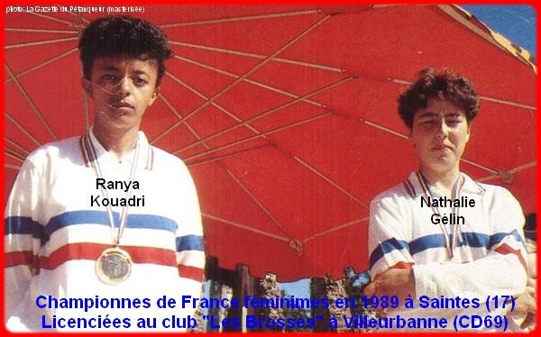 Championnes de France pétanque doublettes féminines en 1989