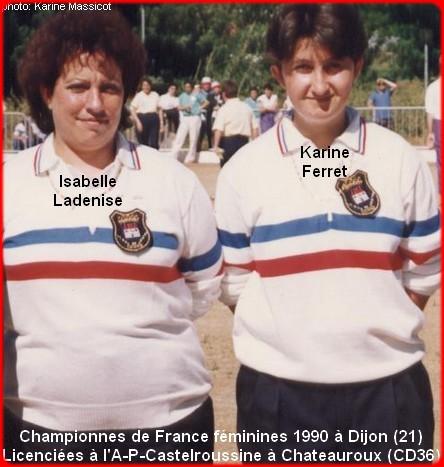 Championnes de France pétanque doublettes féminines en 1999