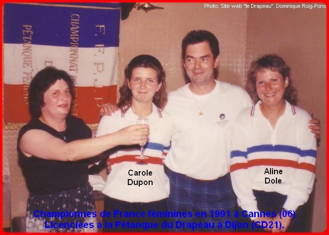 Championnes de France pétanque doublettes féminines en 1991