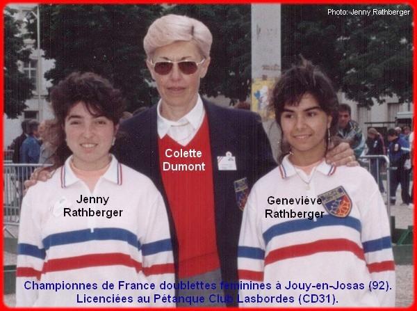 Championnes de France pétanque doublettes féminines en 1992