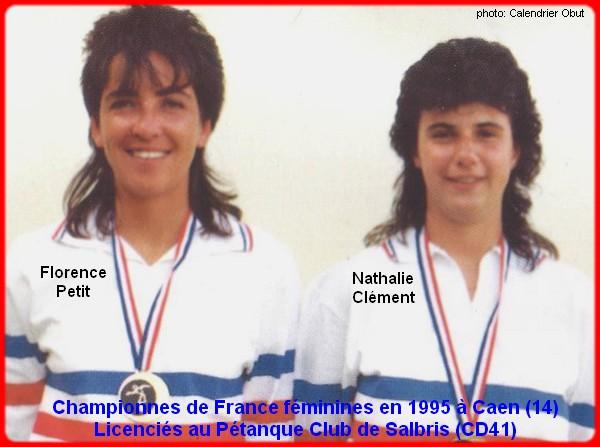 Championnes de France pétanque doublettes féminines en 1995
