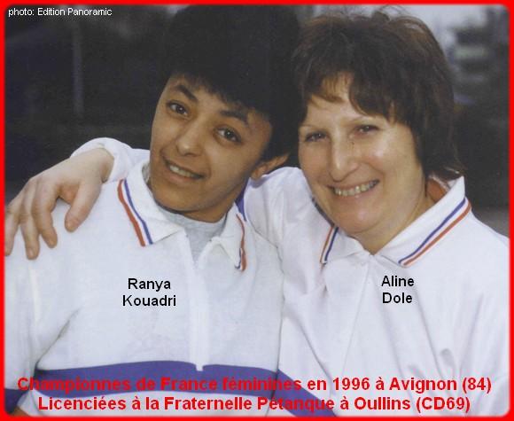Championnes de France pétanque doublettes féminines en 1996