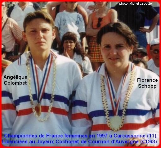 Championnes de France pétanque doublettes féminines en 1997
