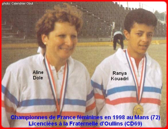 Championnes de France pétanque doublettes féminines en 1998