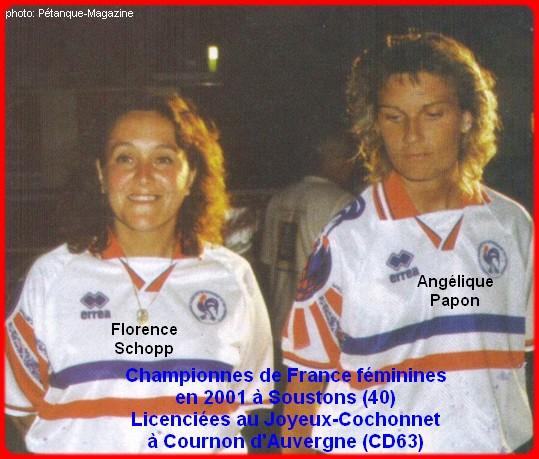 Championnes de France pétanque doublettes féminines en 2001