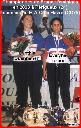 Championnes de France pétanque doublettes féminines en 2003