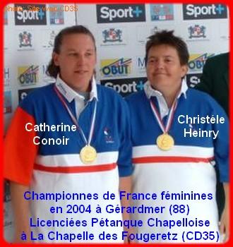 Championnes de France pétanque doublettes féminines en 2004