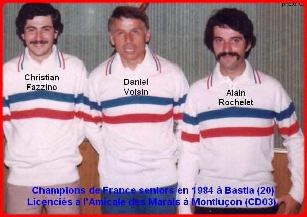 champions de France triplettes seniors pétanque 1984