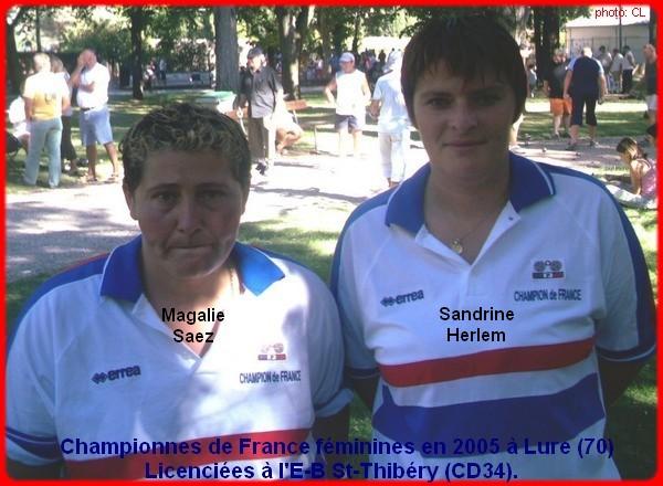 Championnes de France pétanque doublettes féminines en 2005