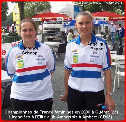 Championnes de France pétanque doublettes féminines en 2006