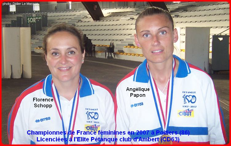 Championnes de France pétanque doublettes féminines en 2007