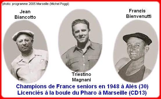 Les champions de France pétanque triplettes en 1948