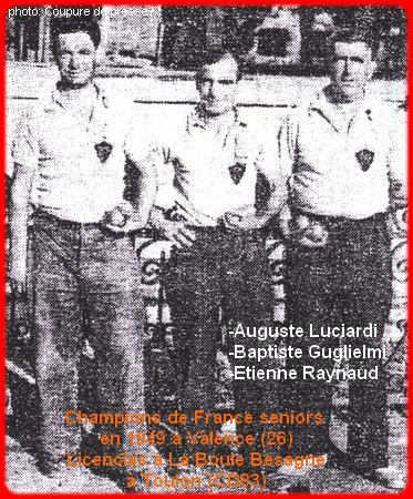 Les champions de France seniors pétanque triplettes en 1949
