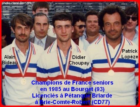 champions de France triplettes seniors pétanque 1985