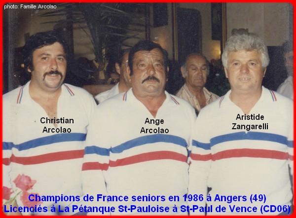 champions de France triplettes seniors pétanque 1986