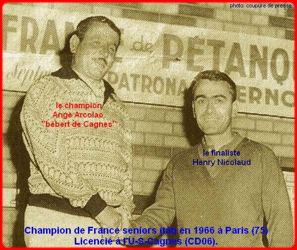 Champion de France pétanque senior tête-à-tête 1966