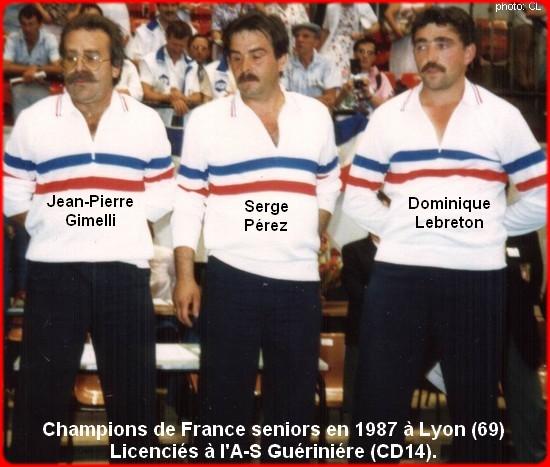 champions de France triplettes seniors pétanque 1987