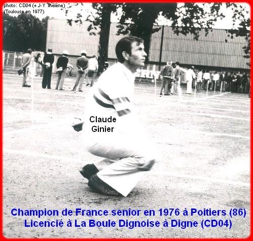 Champion de France pétanque senior tête-à-tête 1976