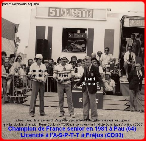 Champion de France pétanque senior tête-à-tête 1981