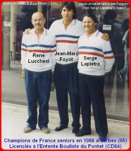 champions de France triplettes seniors pétanque 1988