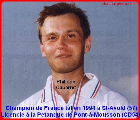 Champion de France pétanque senior tête-à-tête 1994