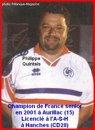 Champion de France pétanque senior tête-à-tête 2001
