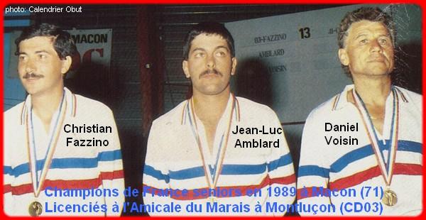 champions de France triplettes seniors pétanque 1989
