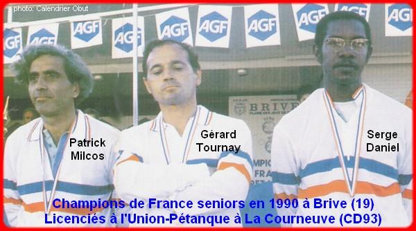 champions de France triplettes seniors pétanque 1990
