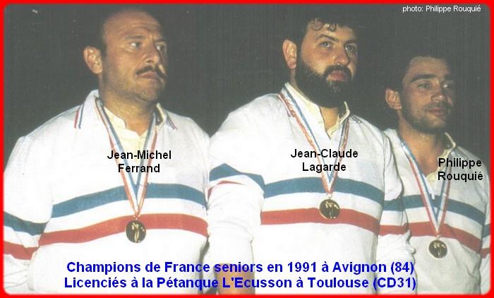 champions de France triplettes seniors pétanque 1991