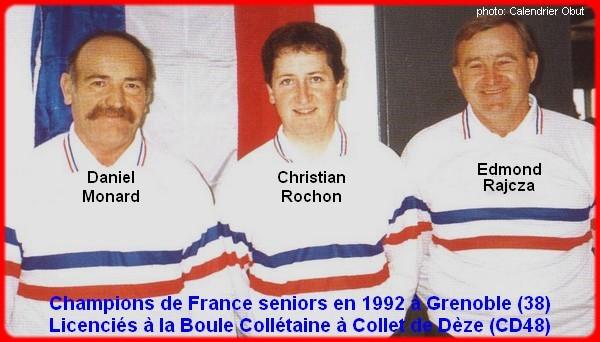 champions de France triplettes seniors pétanque 1992