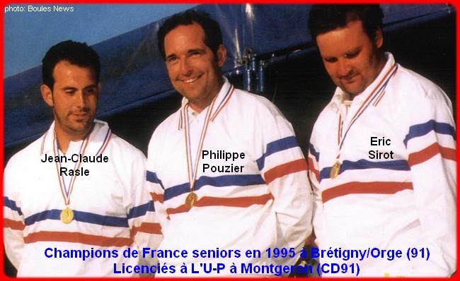 champions de France triplettes seniors pétanque 1995
