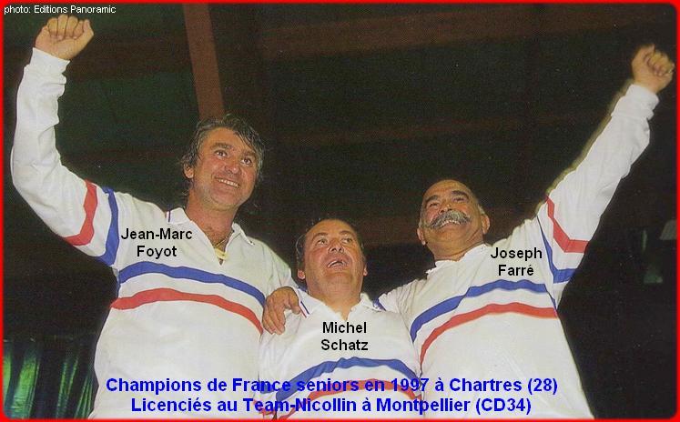 champions de France triplettes seniors pétanque 1997
