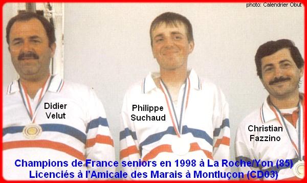champions de France triplettes seniors pétanque 1998