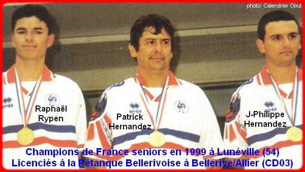 champions de France triplettes seniors pétanque 1999