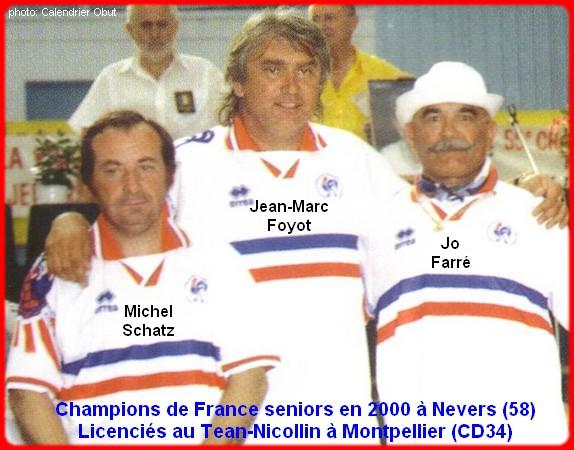 champions de France triplettes seniors pétanque 2000
